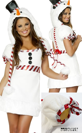 コスチューム LJV1024-1026 Snowman Mini Dress with Hood