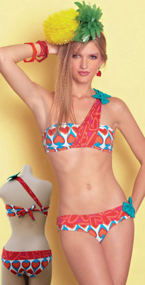輸入水着 LAGAS002 Heart Print Bandeau Bikini