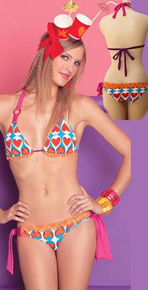 輸入水着 LAGAS021 Heart Print Tie Side Bikini