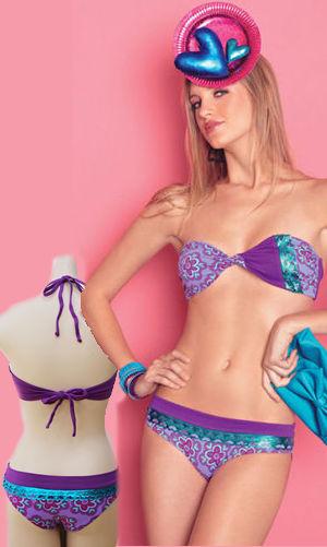 輸入水着 LAGAS025 Purple Print Bandeau Bikini