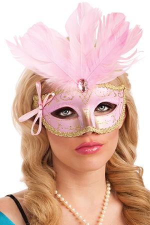 コスチューム LRU4810 Pink Feathered Carnival Eyemask