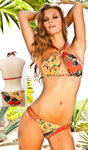 輸入水着 LSV3764STR-3779STR Sumatra Twist  Halter Top and Spliced Full Bottom