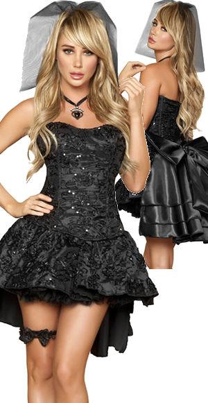 コスチューム LRB4456 4pc Black Widow Bride Costume