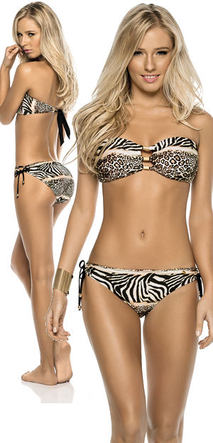 輸入水着 LPH520074-330034 Areia Animal Print Bandeau Bikini with Wide Bottom