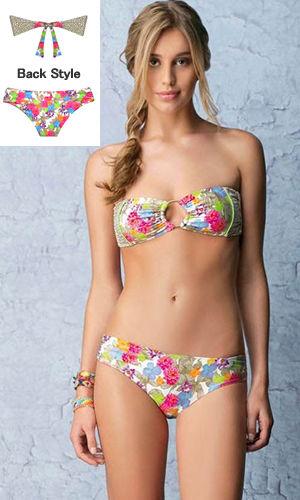 輸入水着 LHAB131 Eluney Floral and Leopard Print Bandeau Bikini