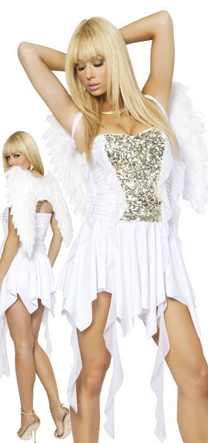 コスチューム LRB4303-1361 Heavenly Hottie Costume with Feather Wings