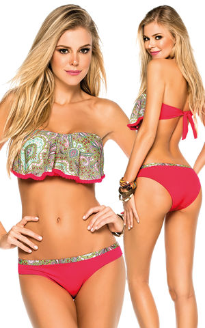 輸入水着 LPH520107-340015 Tarantela Paisley Print Bandeau Top and Intermedium Bottom