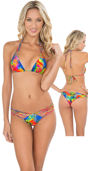 輸入水着 LLFL37928P-37920 Mundo de Colores Strappy Triangle Bikini