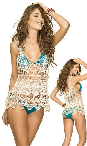 輸入水着 LPH620005 Embroidery Floral Lace Cover Up