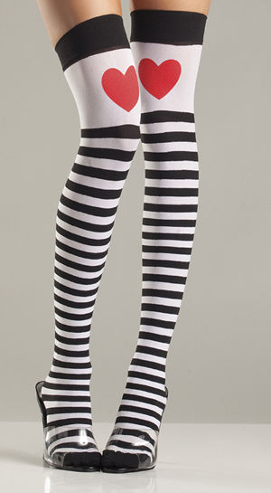 コスチューム LBW652 Striped Thigh Highs with Red Hearts