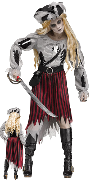 コスチューム LFU115734 Zombie Pirate Queen Costume