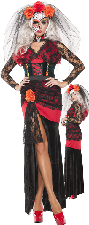 コスチューム LSNS5128 Day of The Dead Gown Costume