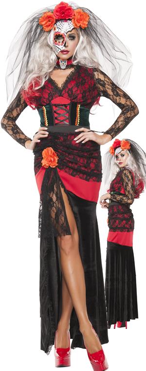 コスチューム LSNS5128 Day of The Dead Gown Costume