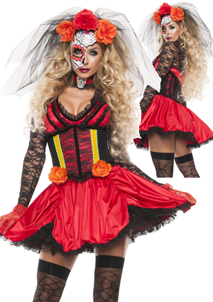 コスチューム LSNS5182 Cinched Day of The Dead Costume