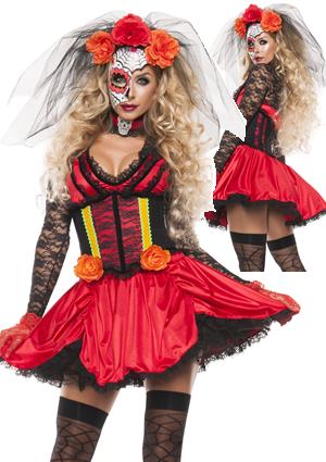 コスチューム LSNS5182 Cinched Day of The Dead Costume