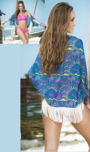輸入水着 LEP7796 Cover Up Paisley Printed Eyelash Fringe Kimono