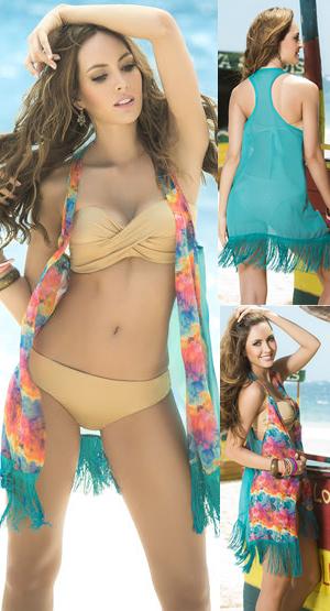 輸入水着 LEP7804 Cover Up and Beach Dress with Eyelash Fringe