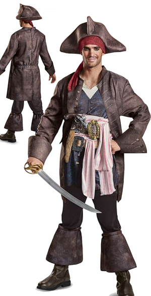 コスチューム LDS22925 Potc5 Captain Jack Deluxe Adult Costume