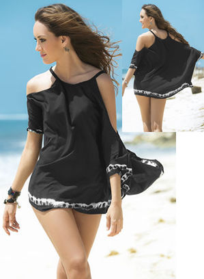 輸入水着 LEP7802 Cover Up and Beach Dress with Slit Sleeve