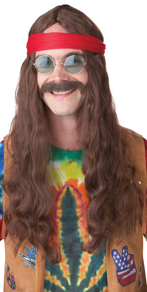コスチューム LCC70666 Hippie Man Wig and Moustache