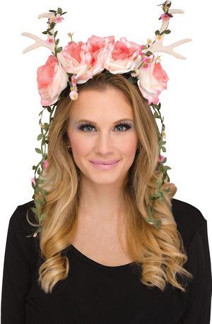コスチューム LFU93190PK Faun Fantasy Pink Rose/White Antler Headpiece