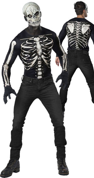 コスチューム LICE12025 Skeleton Mask and Shirt Instant Costume