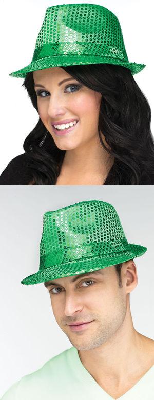 コスチューム LFU5321F St Patrick Sequin Fedora Hat