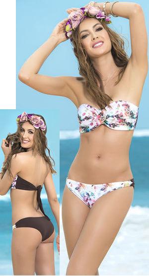 輸入水着 LEP6809 Front Flower Printed Twist Bandeau Bikini