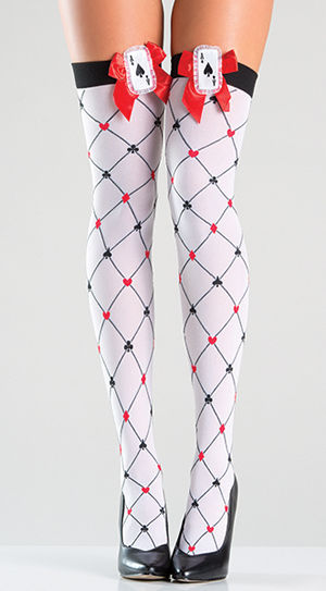 コスチューム LBW771 Diamond Design Thigh Highs with Bow Top
