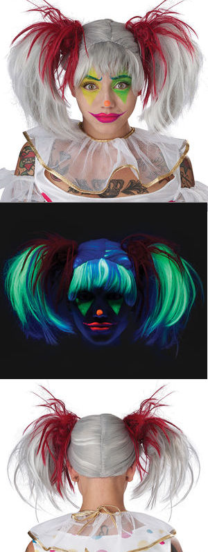 コスチューム LCC7020-062 Glow in the Dark Punk Pigtails Wig