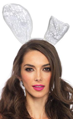 コスチューム LLA3753 White Lace Bunny Ear Headband